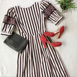 Vintage Petrina Striped Fit And Flare Dress